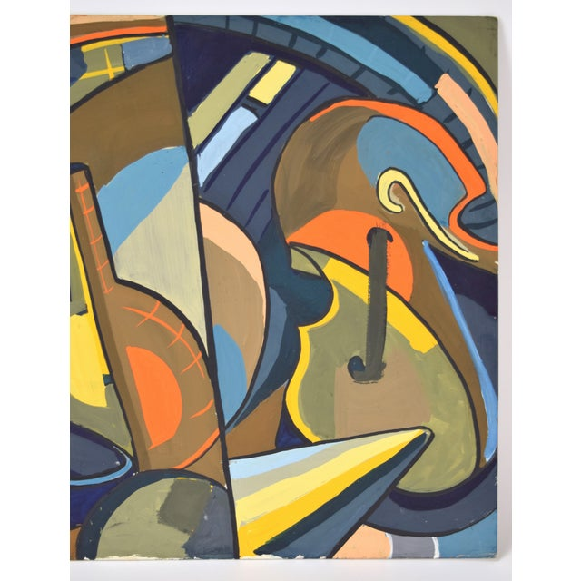 1950s 1950s Vintage Dick Fort Cubist Gouache Abstract Shapes Painting For Sale - Image 5 of 9
