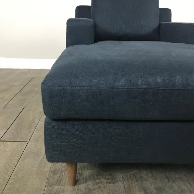 Modern Navy Chaise Lounge Sofa - Image 9 of 11