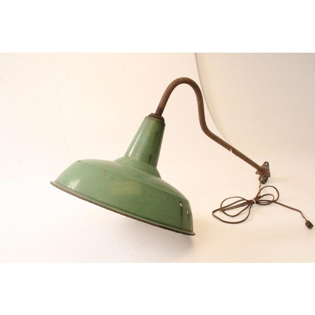 Cottage Vintage Industrial Green Enamel Light Fixture with Wall Bracket For Sale - Image 3 of 11