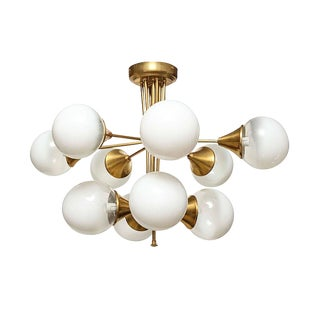 Mid Century Modern 10 Lights Chandelier, Attr to Stilnovo, Italy, 1960s For Sale