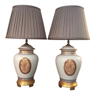 Mottahedeh Porcelain Table Lamps - A Pair For Sale