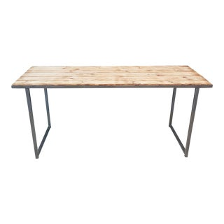 Reclaimed Pine Wood Dining Table With Steel Frame For Sale