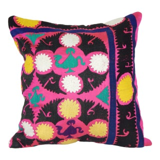 """Vintage Pink Suzani Pillow 18"""" X 18"""" For Sale"""