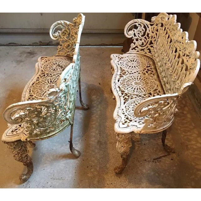 American Victorian Cast Iron Garden Benches - A Pair - Image 4 of 11