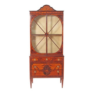 Period George III Mahogany and Satinwood Cabinet Attributed to Gillows