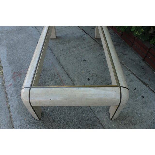 Glass 1980s Hollywood Regency Maitland Smith Coffee Table For Sale - Image 7 of 9