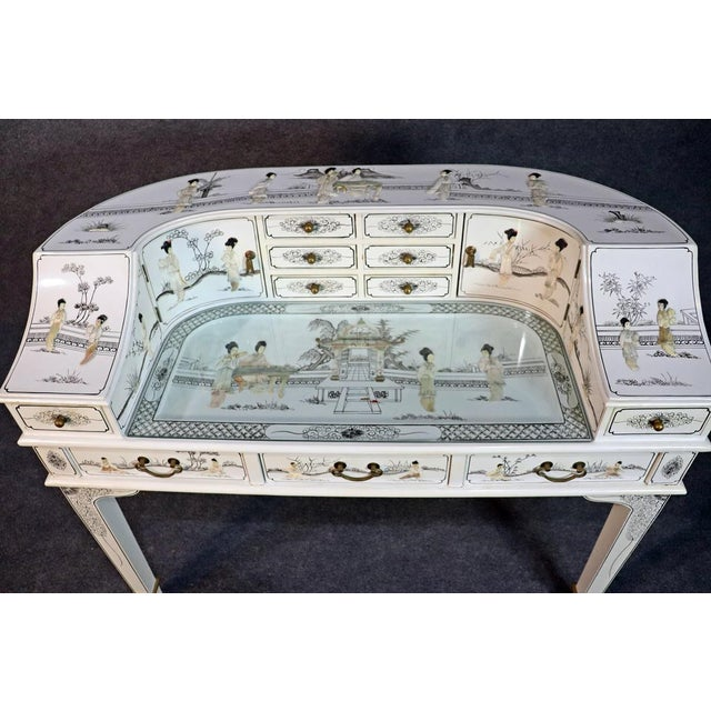 Wood White Chinoiserie Carlton House Desk For Sale - Image 7 of 13