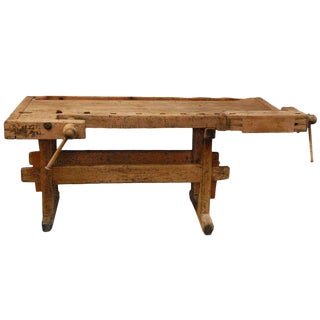 19th Century Antique English Wood Worker's Bench as Side Table or Console For Sale