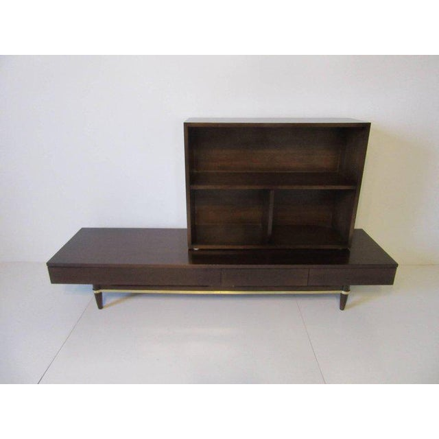 1950s American of Martinsville Ebony and Brass Platform Bookcase For Sale - Image 5 of 7