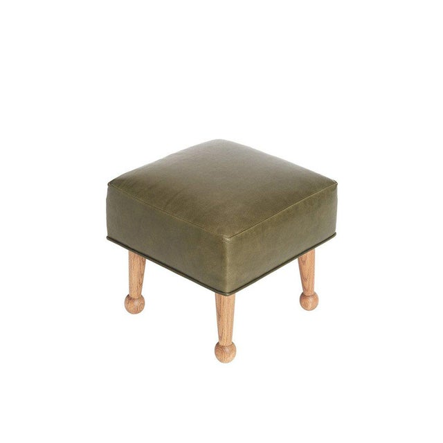 Sabin Mulholland Olive Green Leather Ottoman - Image 2 of 5