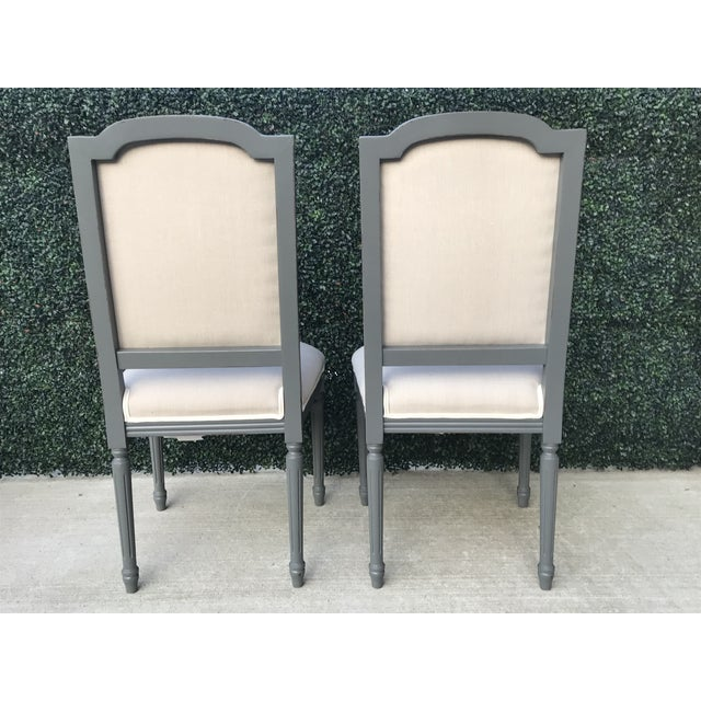 White Sarried Ltd Louis XVI Gray Squared Side Chairs - A Pair For Sale - Image 8 of 13