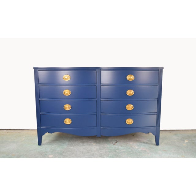 19th Century Boho Chic Bassett Navy Blue Lacquer and Gold Dresser For Sale - Image 11 of 11
