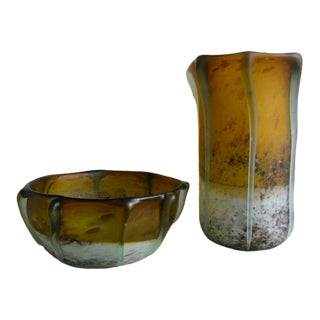 Large Vintage Recycled Frosted Glass Display Bowl and Vase - a Pair For Sale