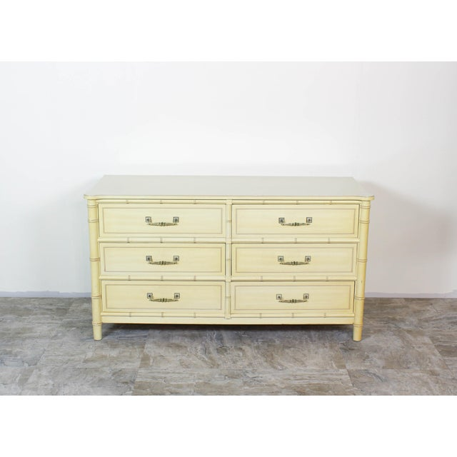 Paint Mid Century Faux Bamboo Dresser, Faux Bamboo Dresser of Six Drawers, Cream Dresser For Sale - Image 7 of 7