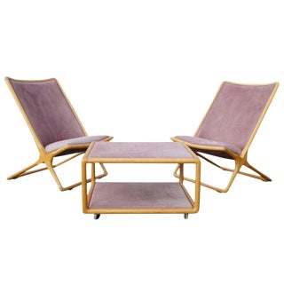 1960s Vintage Ward Bennett for Brickel Associates Scissor Chairs and Ottoman Table- 3 Pieces For Sale