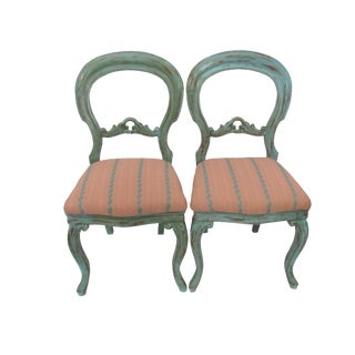 Gustavian Balloon Back Painted Chairs - A Pair For Sale