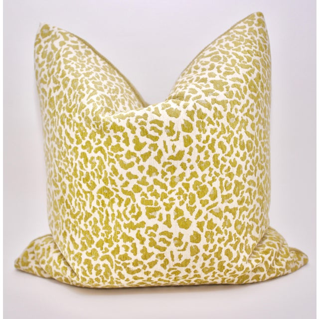 """2020s Bassett McNab Company 22"""" Square Chenille Leopardskin Pillow For Sale - Image 5 of 5"""