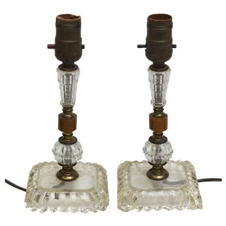 Glass & Brown Bakelite Table Lamps - A Pair For Sale