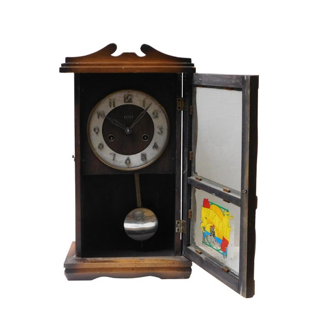 Asian Style Vintage Old Shanghai European Building Style Pendulum Swing Clock For Sale - Image 4 of 8