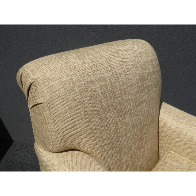 Tan Restoration Hardware Style Beige Linen Blend Accent Chair & Ottoman For Sale - Image 8 of 11