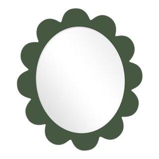 Fleur Home x Chairish Iris Oval Mirror in Duck Green, 48x42 For Sale