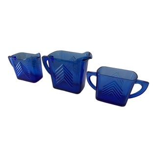 Art Deco Sugar Creamer Set - 3 Pieces For Sale