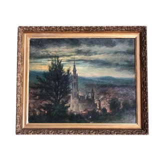 "Late 19th Century Antique French ""View at Dusk"" Oil Painting"