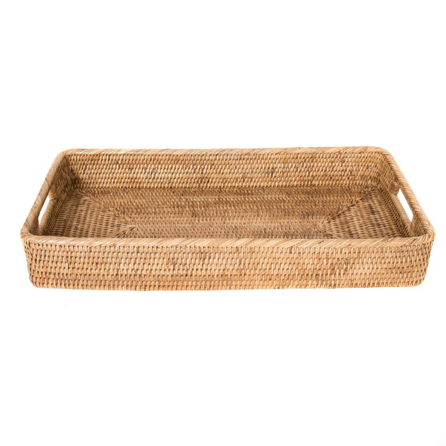 Artifacts Rattan Rectangular Tray For Sale - Image 4 of 4