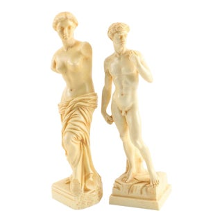Neoclassical Hollywood Regency Roman Italian Figural Statuettes - A Pair For Sale