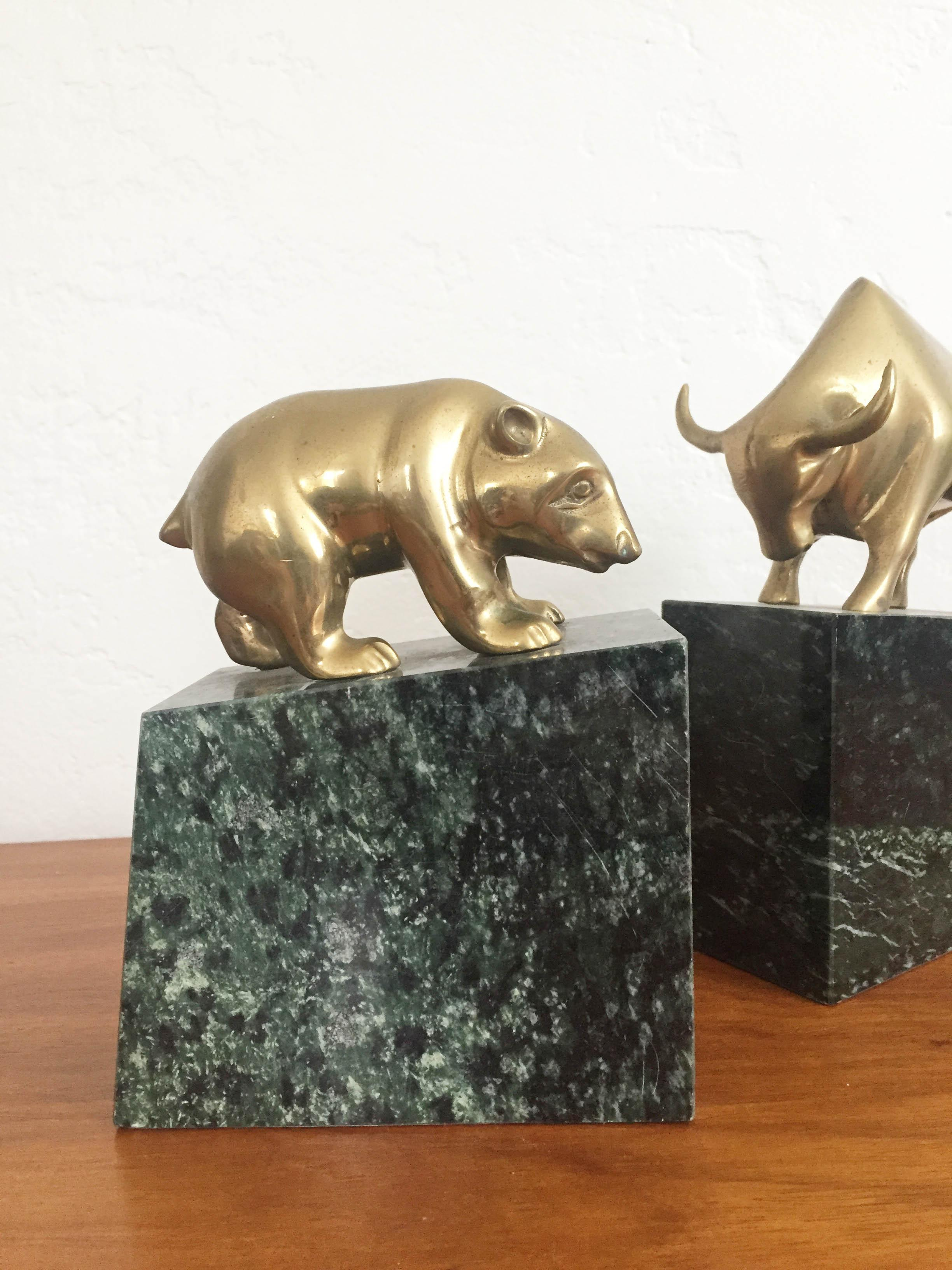 Boho Chic Vintage Brass Bear And Bull Bookends On Marble Bases   A Pair For  Sale
