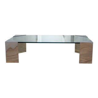 Mid-Century Karl Springer Glass and Chrome Coffee Table For Sale