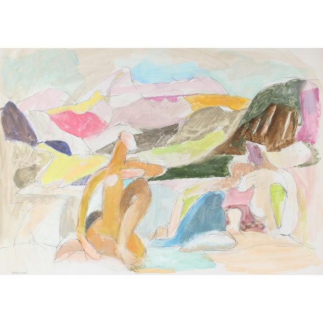 Figures in a Pastel Landscape by Gerald Wasserman - Image 1 of 2