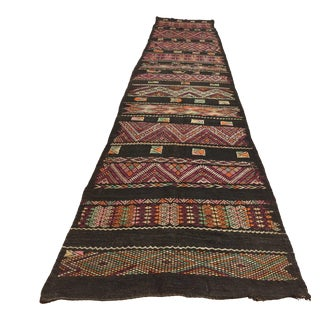 Moroccan Black Tuareg Tribal African Rug Runner For Sale