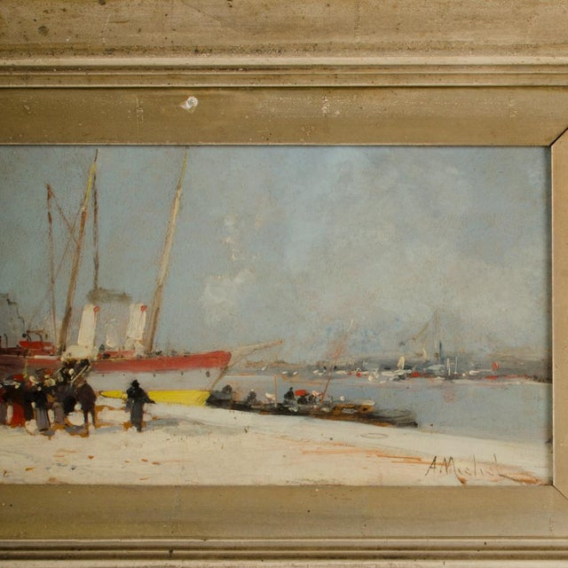 """19th Century """"Harbor During Date"""" Maritime Oil Painting Signed A. Michel, Framed For Sale - Image 4 of 10"""