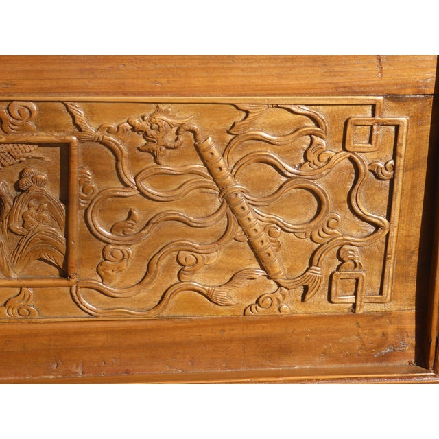 Antique Asian Chinese Chinoiserie Carved Door Panel Wall Hanging For Sale - Image 11 of 13