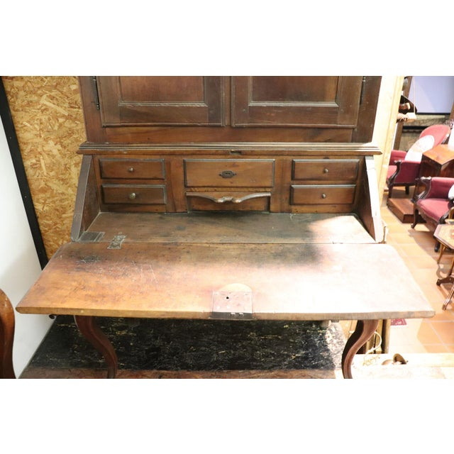 Wood 18th Century Italian Antique Louis XV Walnut Carved Trumeau, Secretaire For Sale - Image 7 of 12