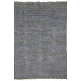 New Transitional Grass Cloth Blue and Gray Area Rug with Modern Style