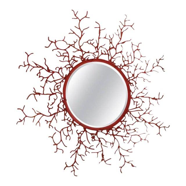 """Vintage Spanish Painted Metal """"Coral"""" Mirror - Image 1 of 3"""