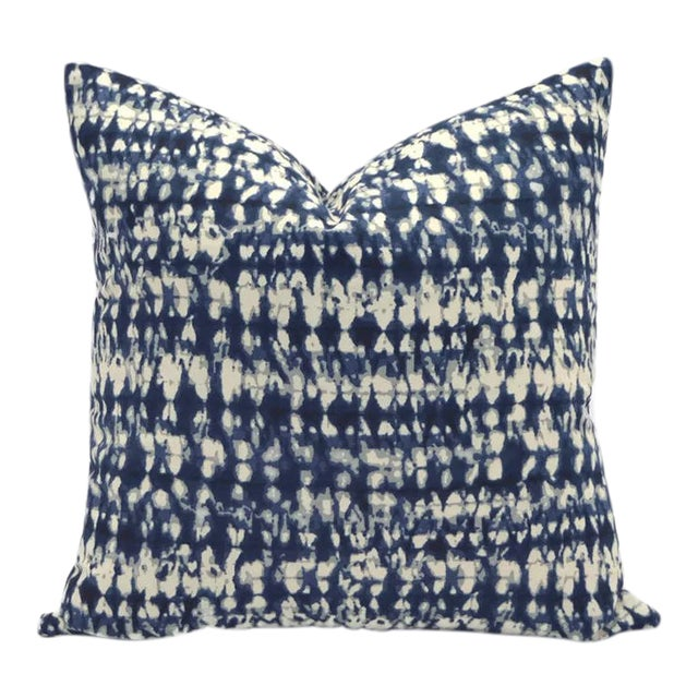 Duralee Indigo Shibori Down Feather Pillow From the Carousel Collection #Dp61589-193 For Sale