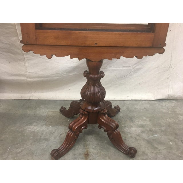 English Antique Mahogany Expandable Fireplace Screen on Pedestal For Sale - Image 9 of 11