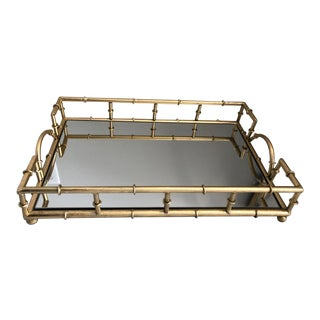 Two's Company Gold Bamboo Frame With Mirrored Glass Tray For Sale