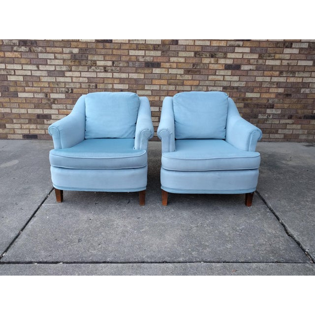 Vintage Blue Velvet Rolled Arm Club Chairs by Sam Moore Furniture - A Pair - Image 3 of 11