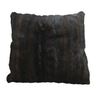 Genuine Dark Brown Mink Fur Front Throw Accent Pillow For Sale
