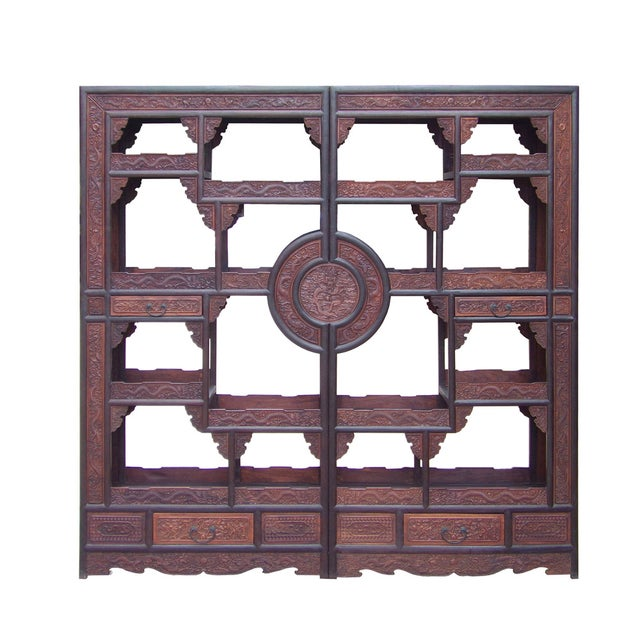 Chinese Rosewood Display Curio Cabinets - A Pair For Sale