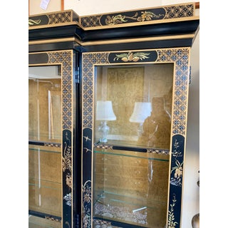 Vintage Black Lacquer Chinoiserie China Cabinet Breakfront Preview