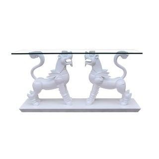 Vintage White Lacquer Foo Lion Console Table For Sale