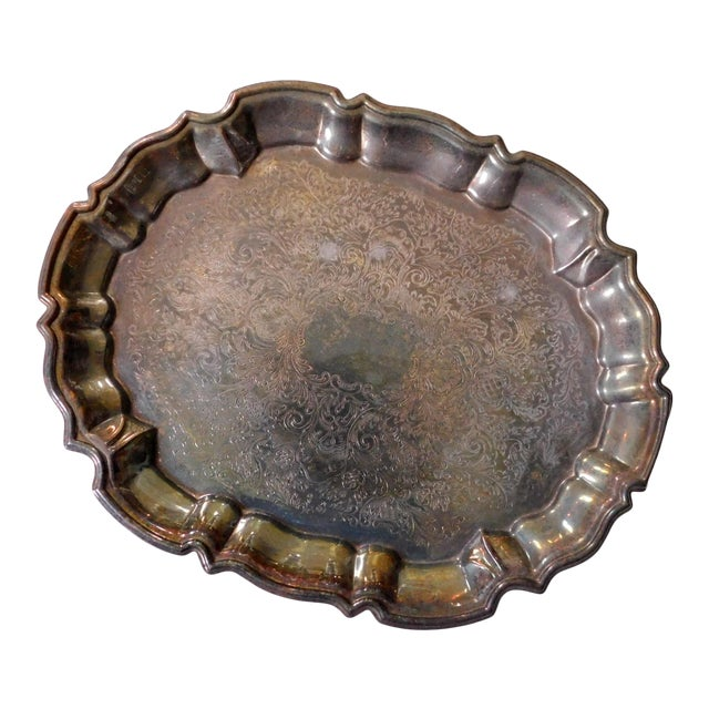 Boho Chic Footed Silver Tray For Sale