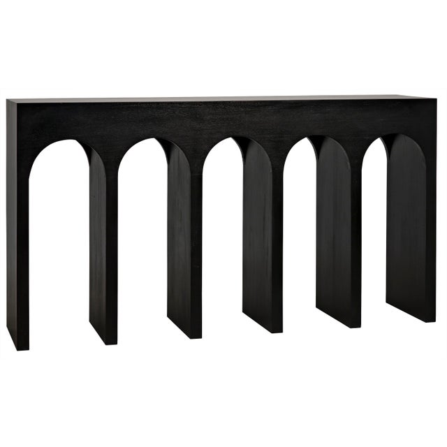 Mid-Century Modern Bridge Console, Hand Rubbed Black For Sale - Image 3 of 7