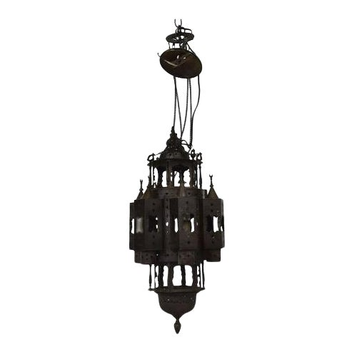 Large Vintage Mid 20th Century Moroccan Moorish Fanous Brass Hanging Lantern For Sale