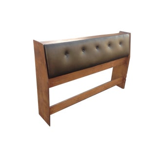 Tufted Leather & Wood Storage Headboard For Sale